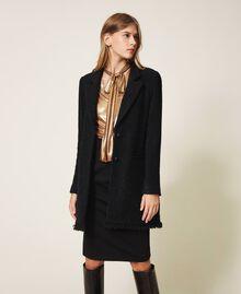 Sobretodo de lana mixta bouclé Negro Mujer 202TT217A-01