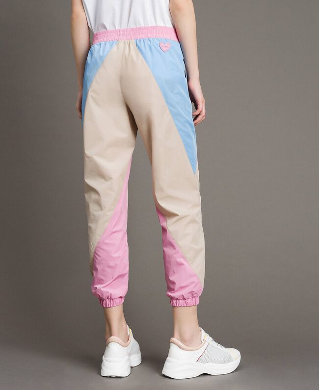 Colour-Block Jogginghose aus Nylon Porzellan Beige Frau 191MP2093-03