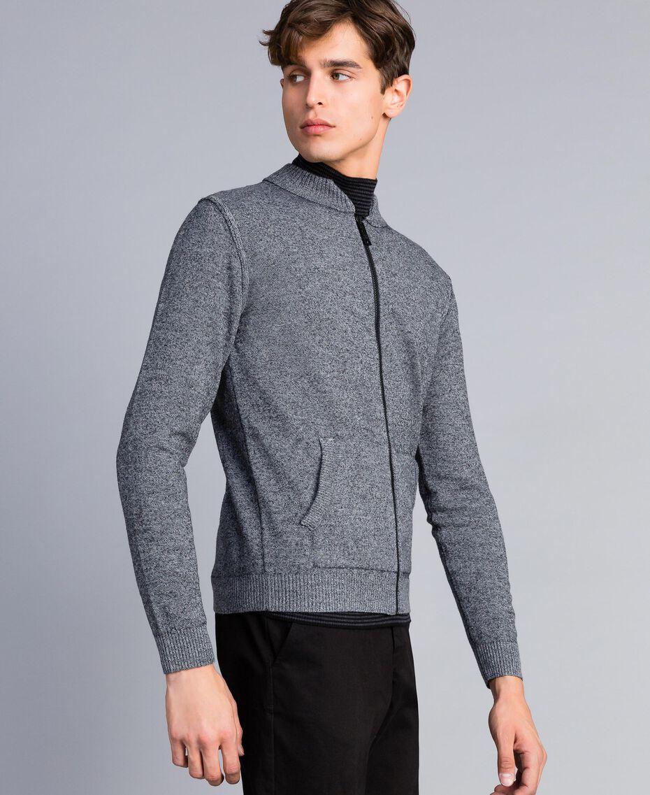 Cardigan aus Baumwolle und Wolle mit Reißverschluss Zweifarbig Mattweiß / Schwarz Mann UA83BA-02