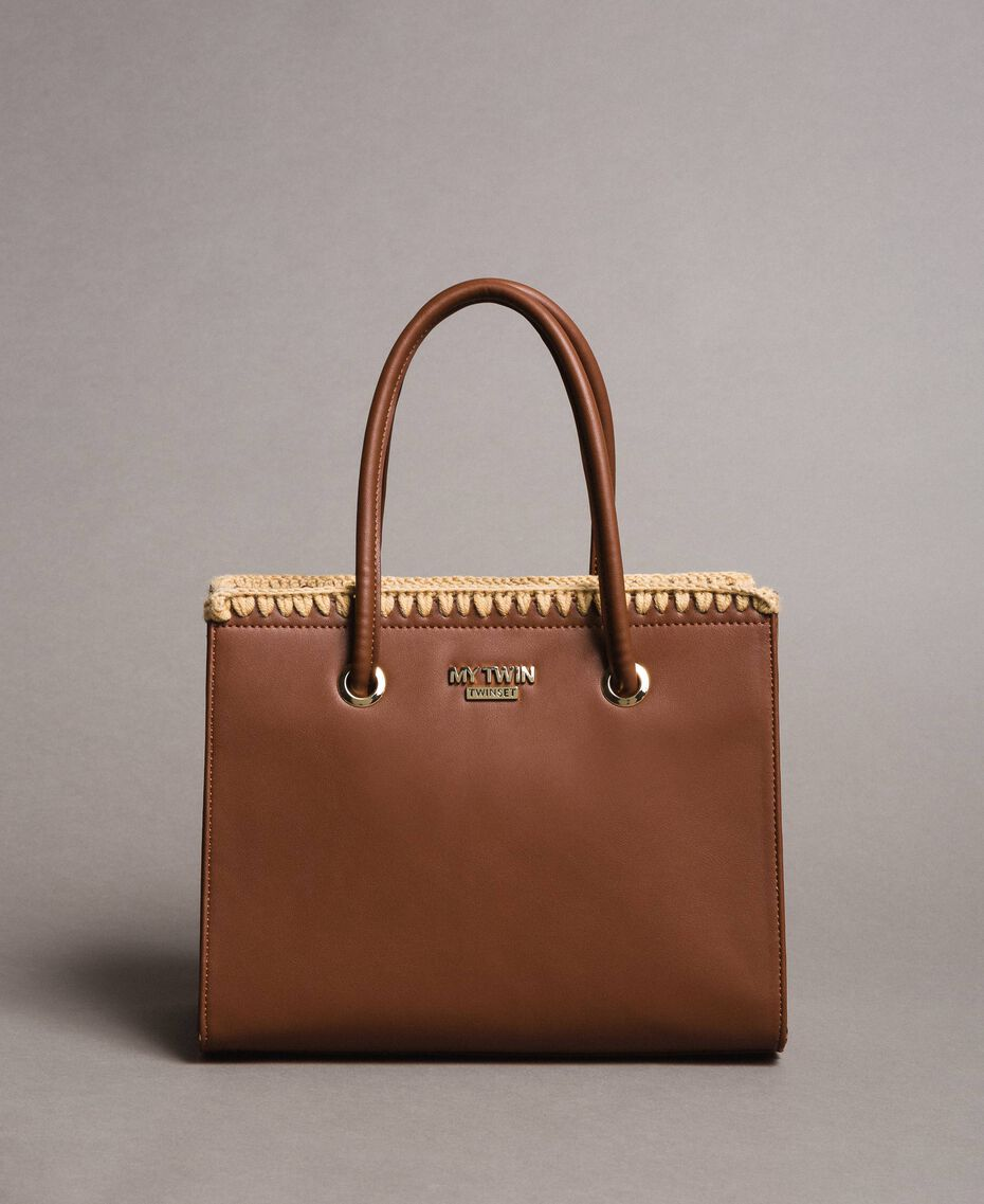 "Faux leather shopping bag ""Earth"" Brown Woman 191MO8091-02"
