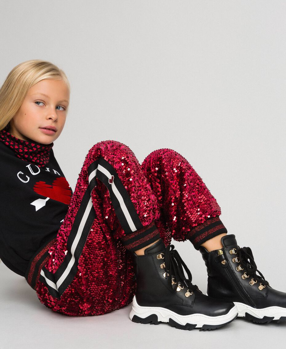 Pantalon de jogging en velours avec sequins Rouge Ruby Wine Enfant 192GJ2092-05