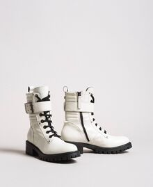 Leather lace-up boots with ankle strap White Snow Woman 191TCP230-01