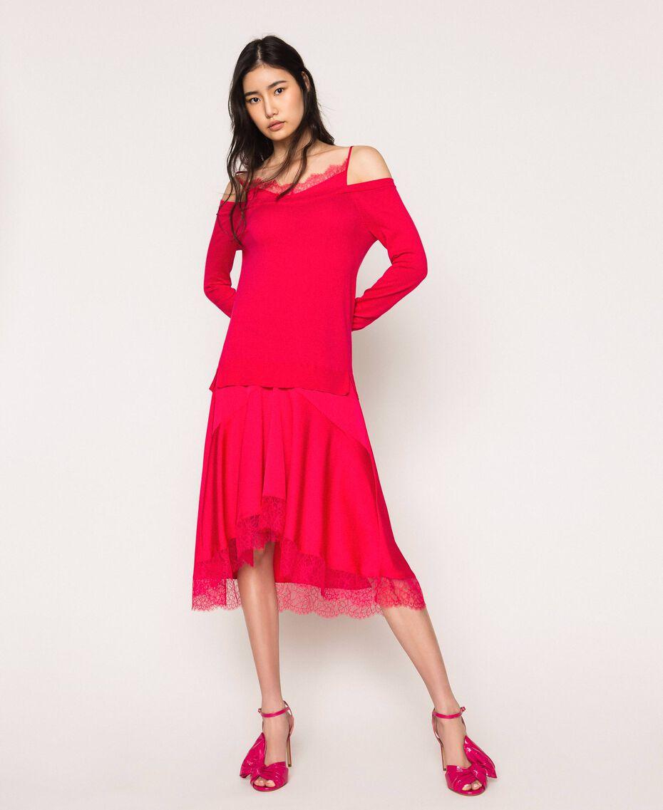 Трикотажное платье с атласной ложной комбинацией Вишня женщина 201TP3070-01