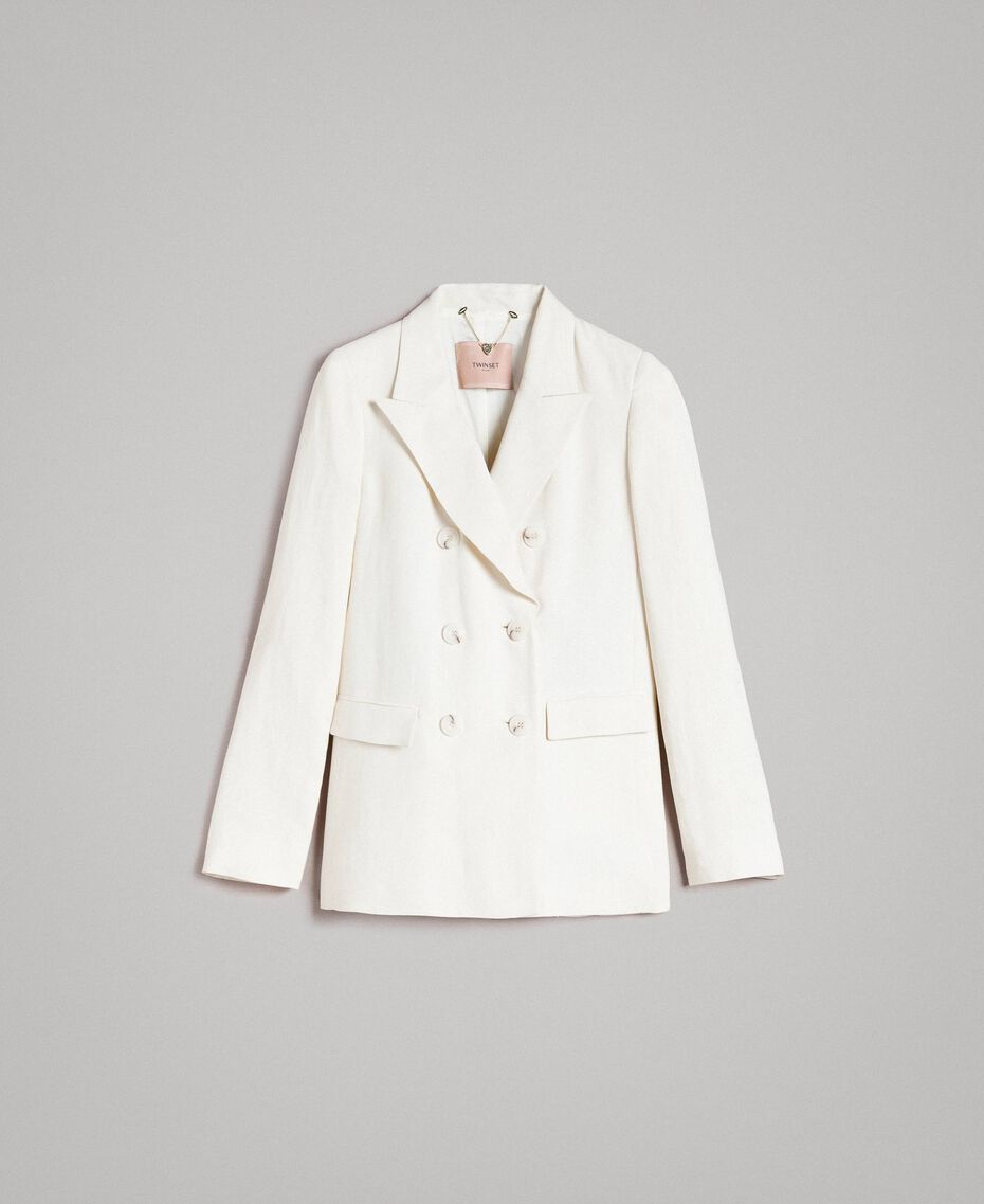 Linen blend blazer White Snow Woman 191TP2203-0S