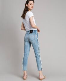 Skinny jeans with fringes Denim Blue Woman 191MT2434-05