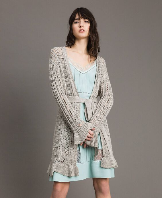 Maxi cardigan in lurex