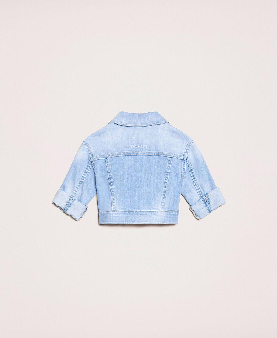 Giacca boxy in jeans con ricamo Denim Chiaro Bambina 201GB236A-0S