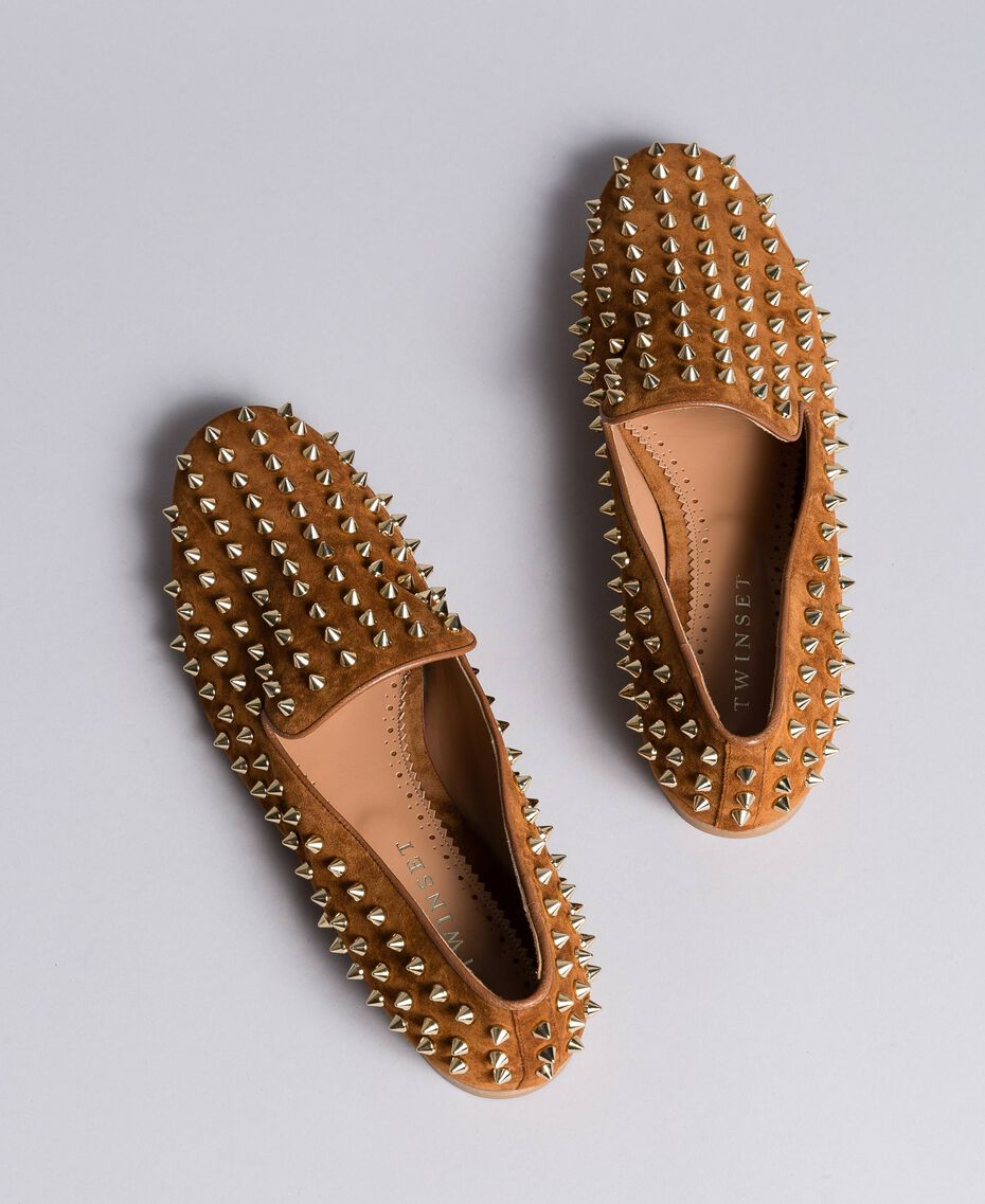 Suede studded slippers Reddish Brown Woman CA8TFJ-02