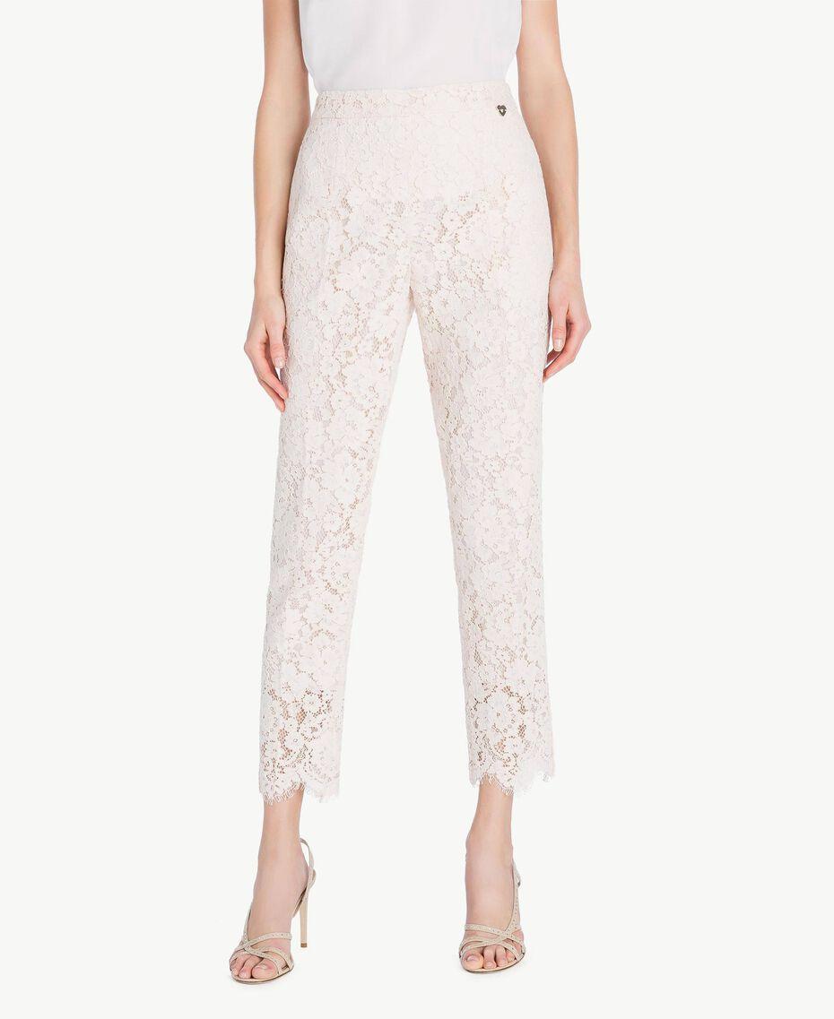 Lace drainpipe trousers Pale Ecru Woman PS82XG-01