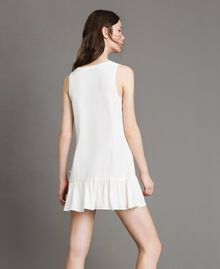 "Mixed silk mini dress with flounce ""Silk"" White Woman 191TP2460-04"