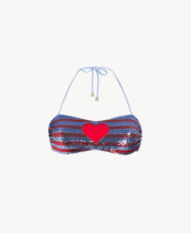 Soutien-gorge de bain bandeau paillettes Bicolore Rouge «Pink Twist» / Bleu «Blue Spume» Femme BS8311-01