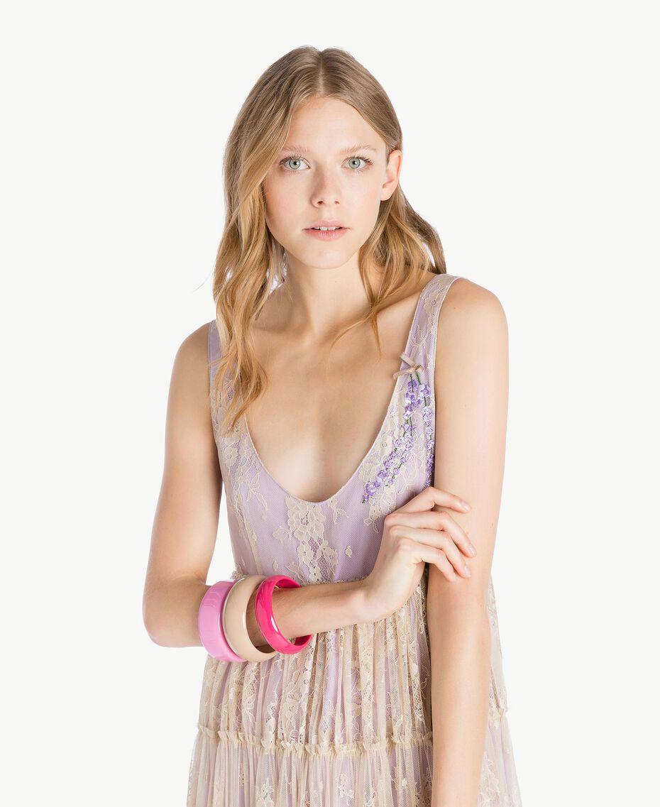 "Bracelet set Multicolour ""Doll"" Fuchsia / ""Hydrangea"" Pink / Ecru Woman AS8P8U-02"