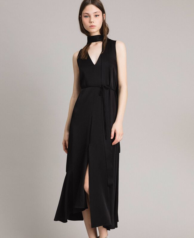 Long dress with bow and slit Black Woman 191TP269A-03