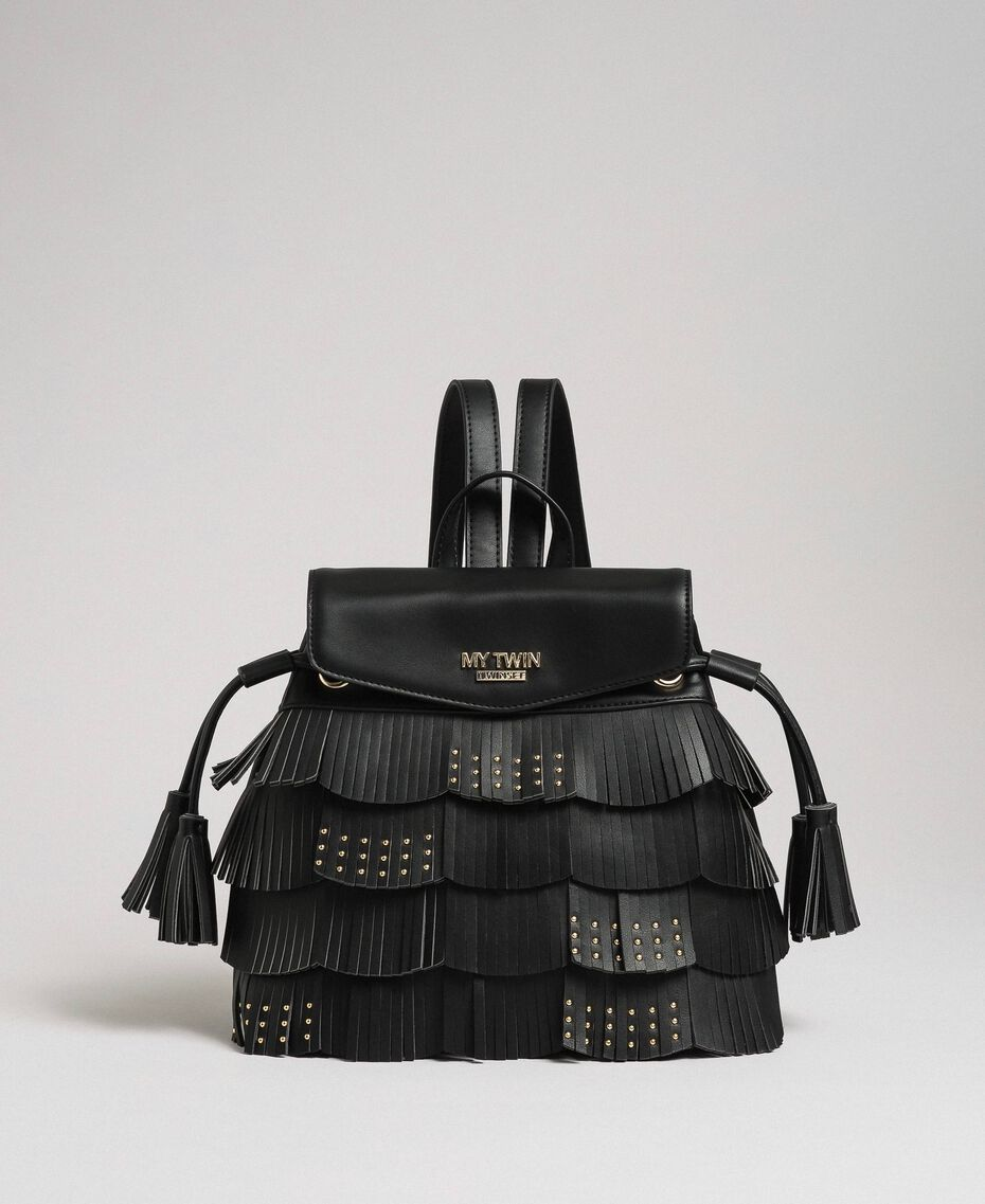 Faux leather backpack with fringes and studs Black Woman 192MA7022-02