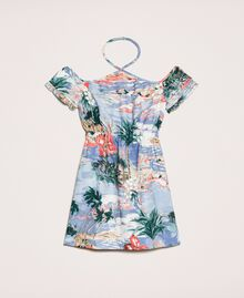 "Linen blend printed dress ""Hawaii"" Blue Print Child 201GJ2342-0S"