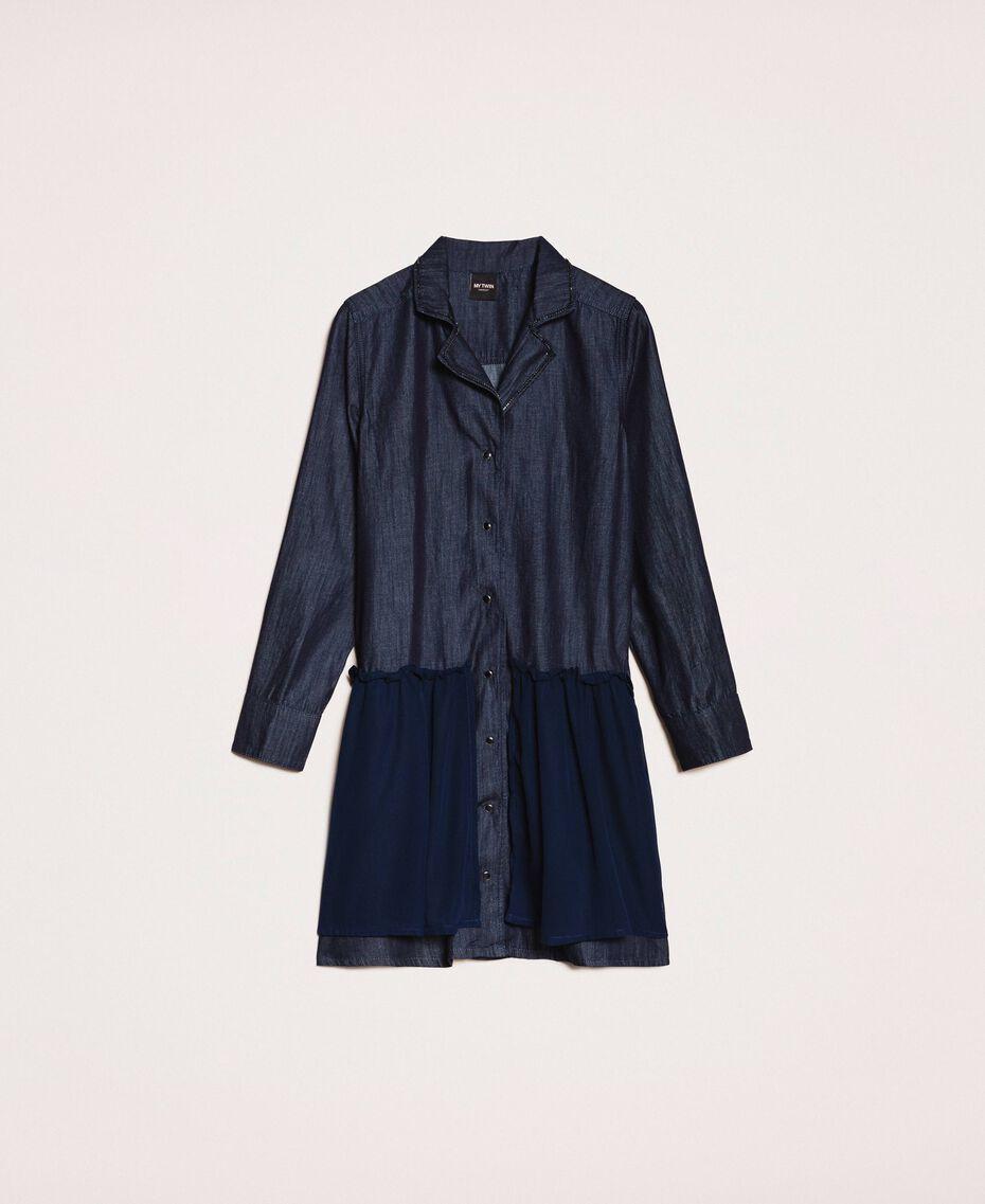 Robe chemisier en jean avec strass Bleu Denim Femme 201MP2400-0S