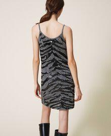 Vestido lencero con lentejuelas animal print Gris Cañón de fusil Mujer 202TP3150-03