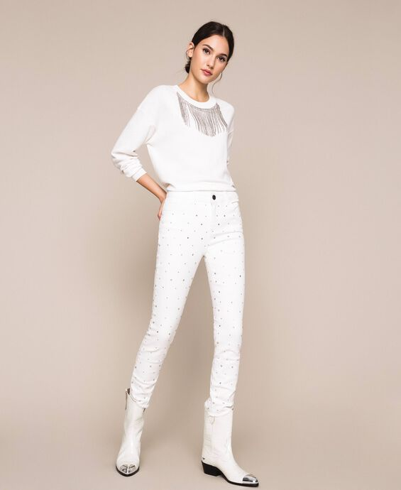 Skinny trousers with rhinestones