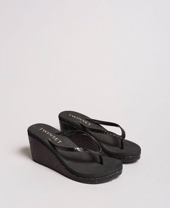 Flip flops with glitter wedge