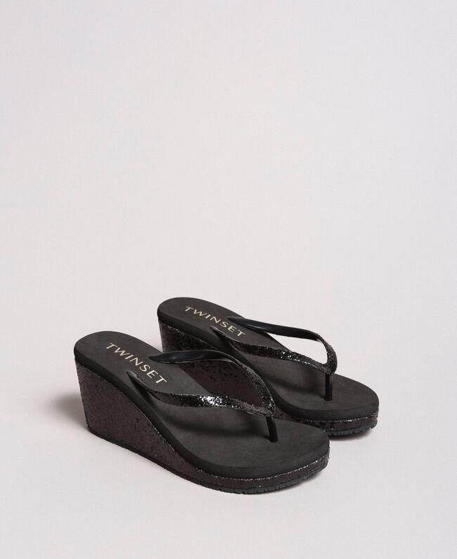 Tongs pailletées avec semelle compensée Noir Femme 191LB43HH-01