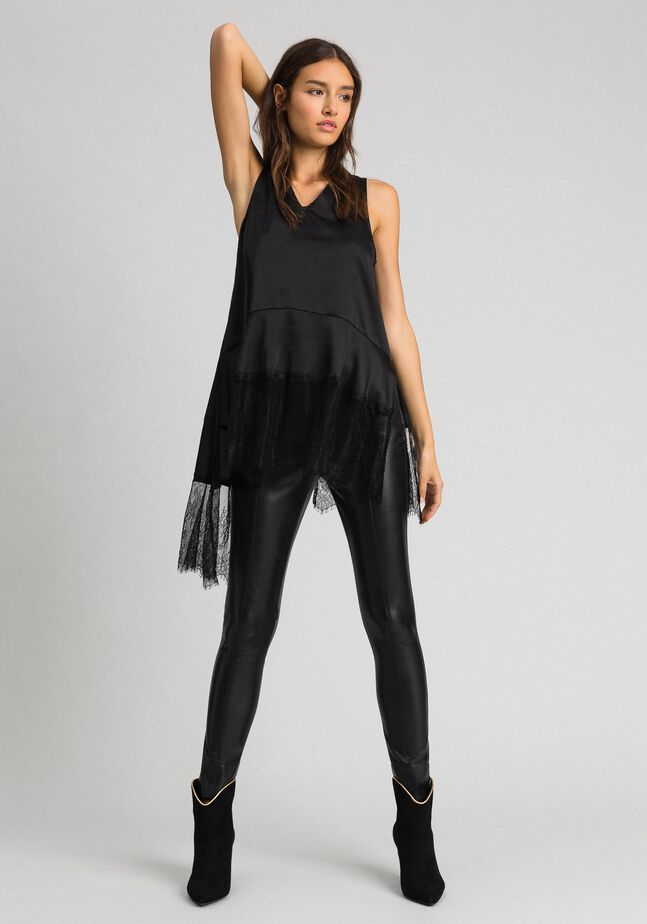 Satin top with flounce and lace