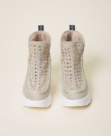 """Suede ankle boots with rhinestones Two-tone """"Optical"""" White / """"Topaz"""" Beige Woman 202MCP014-05"""