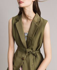 "Linen envers satin long waistcoat ""Olive"" Green Woman 191TT2300-01"