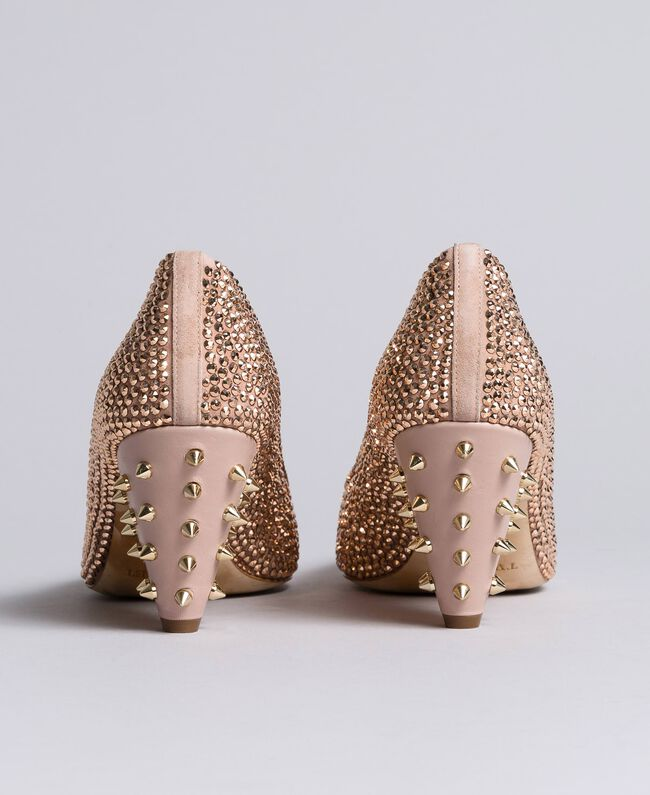 """Suede rhinestone-clad court shoes """"Pale Pink"""" Woman CA8TLC-04"""