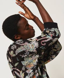 Floral print cardigan-jumper Black Indian Flower Print Woman 211TT3141-01