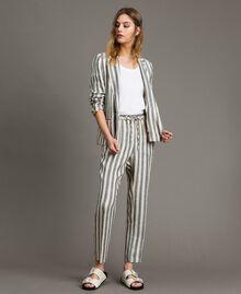 """Veste en lin à rayures bicolores Bicolore Noir / Beige """"Pâte d'Amande"""" Femme 191TT2310-0T"""