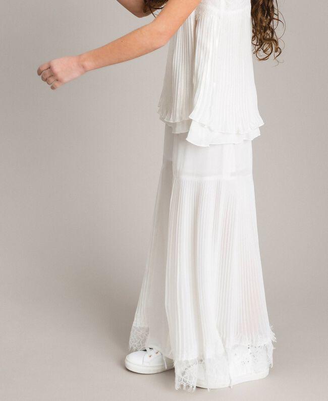 Pantalon en georgette plissée et dentelle Off White Enfant 191GJ2QA1-03