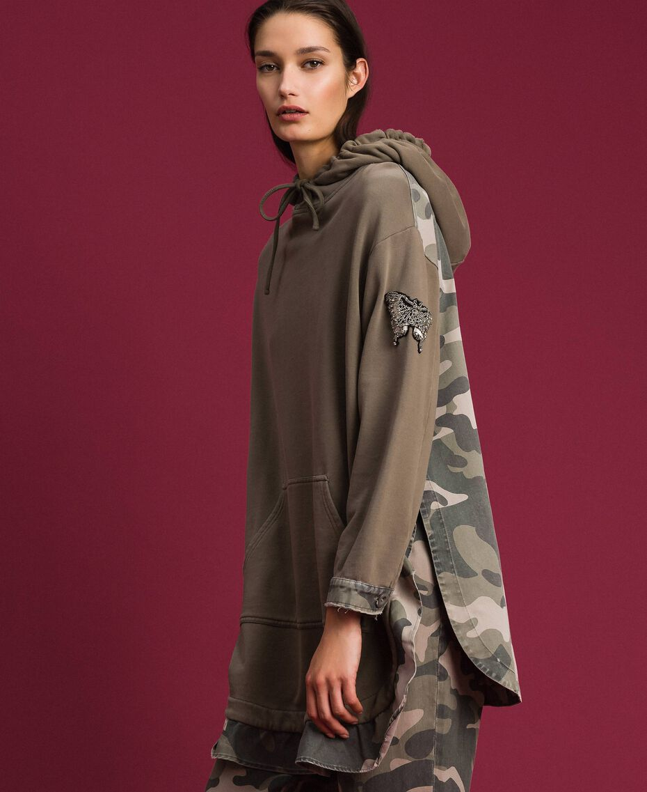 Maxi sweatshirt with camouflage details Military Gold / Camouflage Print Woman 192TP2040-05