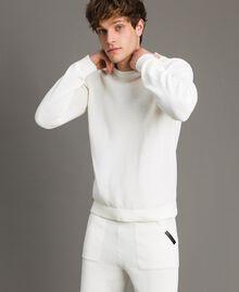 Cotton-blend jumper Matte White Man 191UT3082-01