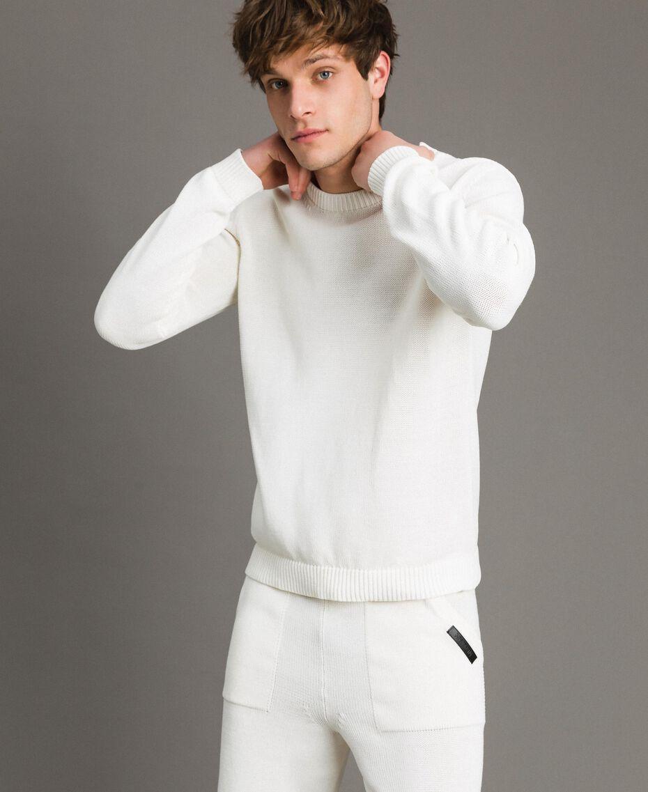 Pullover aus Baumwollmischung Mattweiß Mann 191UT3082-01