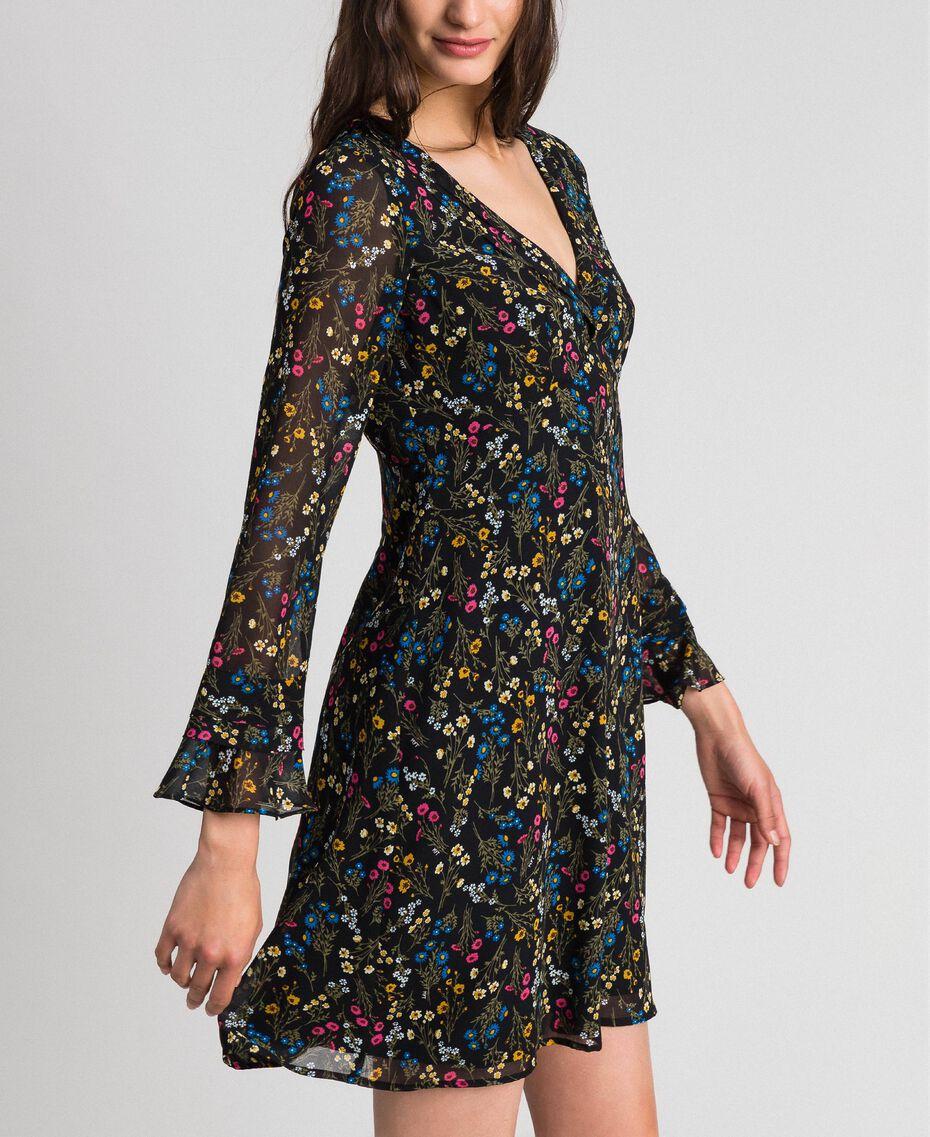 Kleid mit Blumenprint Mikroblumenprint Schwarz Frau 192MP2228-02