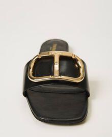 Sandales slide en cuir avec logo Noir Femme 211TCT014-03