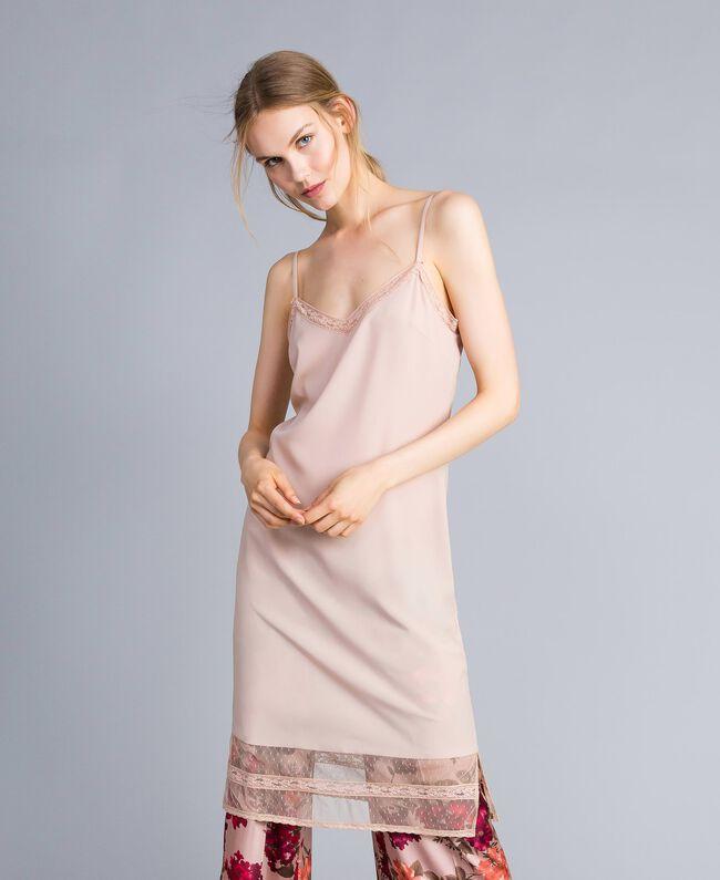 "Robe nuisette en crêpe de Chine Beige ""Nude"" Femme SA82H5-01"
