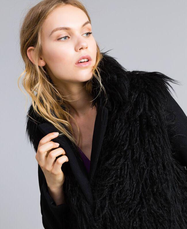 Manteau long en drap et fausse fourrure Noir Femme TA82A5-04