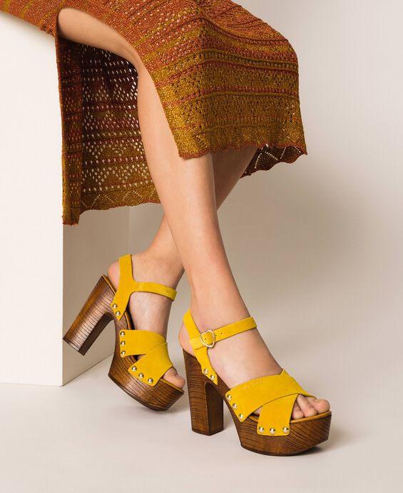 Clog-Sandalette aus Rauleder