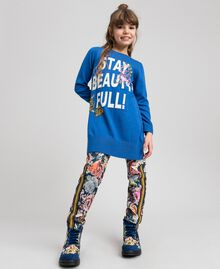 Scuba trousers with floral and graffiti print Graffiti Print Child 192GJ2494-0T