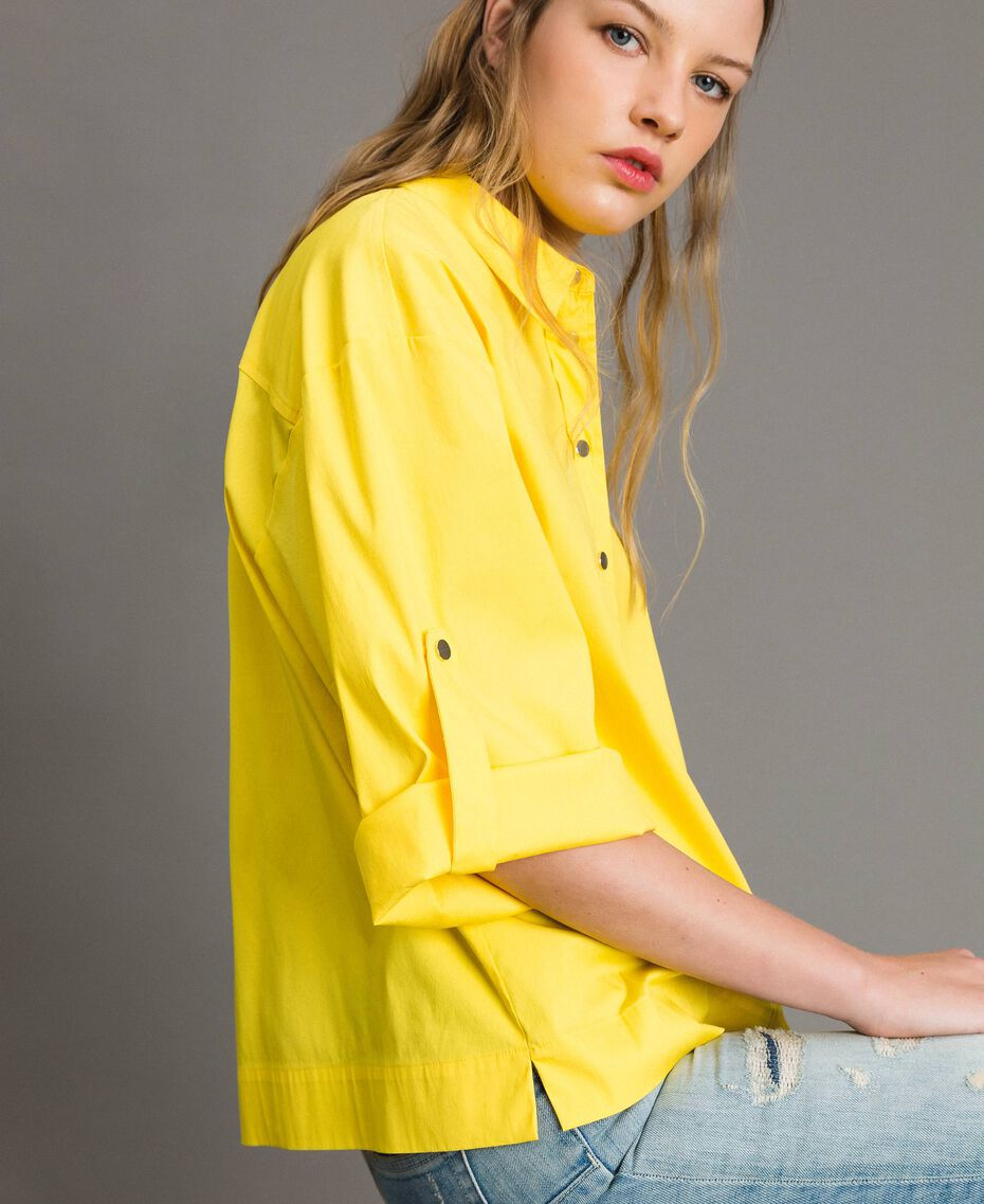 "Poplin boxy shirt ""Freesia"" Yellow Woman 191MP2211-05"