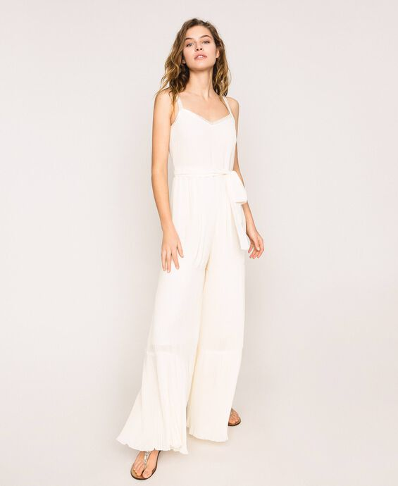Pleated georgette jumpsuit with embroidery