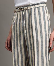 "Two-tone striped linen trousers Two-tone Black / ""Marzipan"" Beige Woman 191TT2314-05"