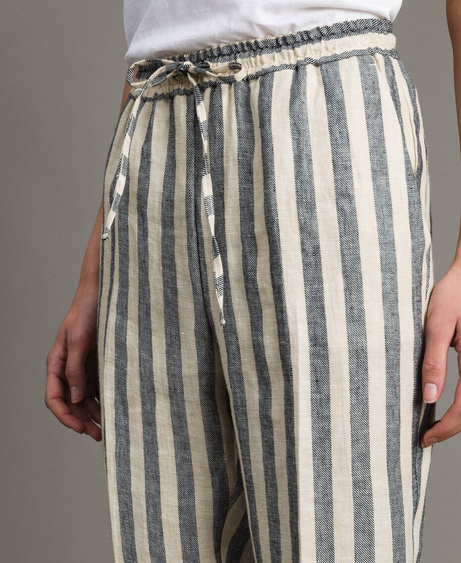 "Two-tone striped linen trousers Two-tone Black / ""Marzipan"" Beige Woman 191TT2314-05"