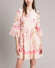 """Robe en georgette à imprimé floral Imprimé Rose """"Bouton De Rose / Peach Mix"""" Femme 191TP2716-02"""