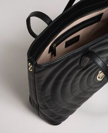 Borsa shopper in similpelle con cuori trapuntati Nero Donna 192MA7081-05