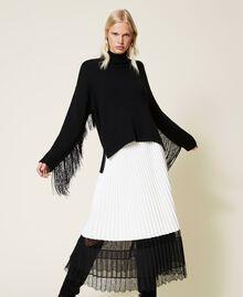 Maglia dolcevita in misto lana con frange Nero Donna 212TP3290-04