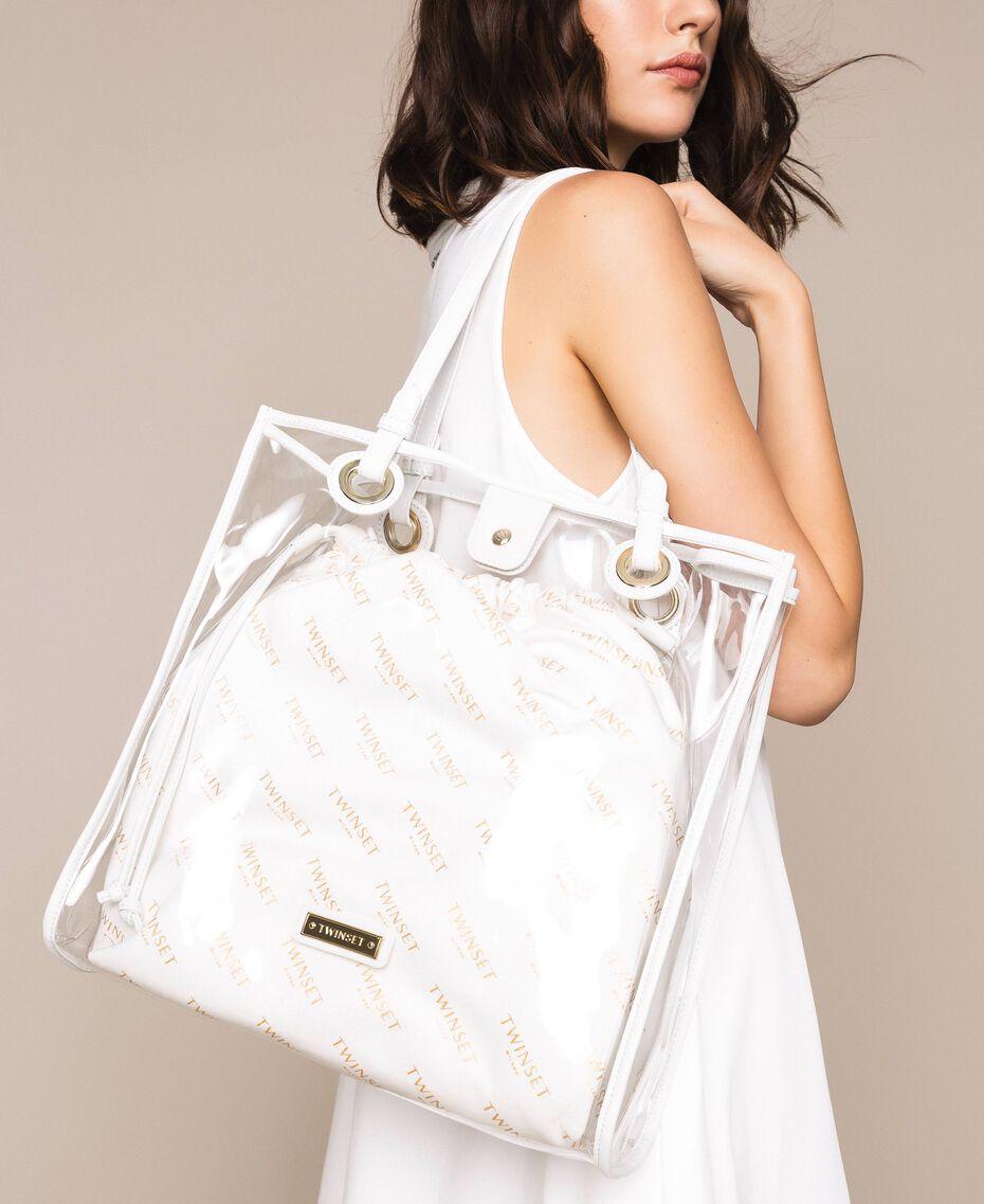 Borsa shopper con sacca logata Bianco Donna 201TA7180-0S