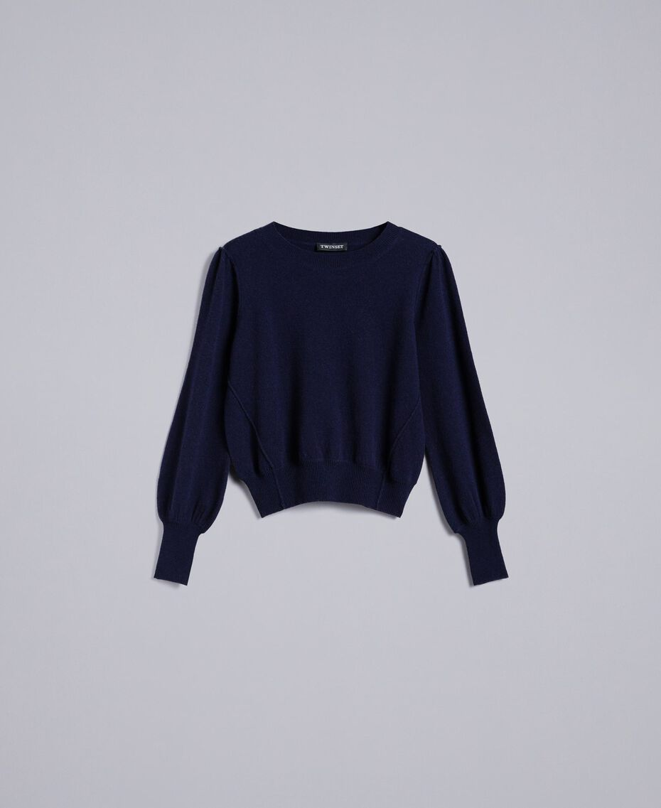 Pull boxy en laine et cachemire Bleu Nuit Femme TA83AD-0S