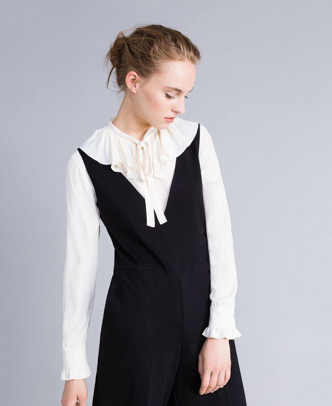 Combinaison sans manches avec chemise en soie mélangée Bicolore Noir / Blanc Neige Femme PA8212-04
